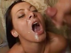 Three men share her in the bedroom tubes