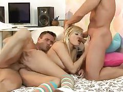 Sexy blonde in socks fucked by two men tubes