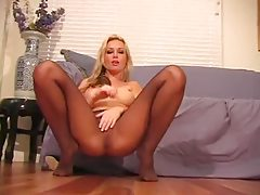 Incredible big tits blonde pantyhose tease tubes