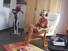 Blonde milf changes into a kinky outfit tubes