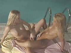 Poolside lesbian sex with slender blondes tubes