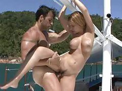 Good hardcore group sex on a boat tubes