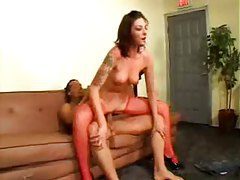 Tattooed girl in fishnets has great sex tubes