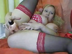 Pigtails curly hair blonde dildo fucks her fat pussy tubes