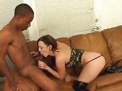 Latex boots girl gives head to black cock tubes
