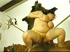 Fat girl fucked in her shaved pussy by BBC tubes