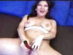 Happy chick strips and toys her tasty pussy tubes