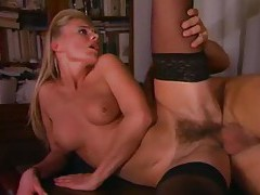 Hairy blonde European fucked up the ass tubes