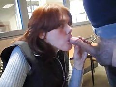 Sweater girl gives a blowjob in public for facial tubes