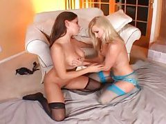 Ladies in the sexy stockings eating wet pussy tubes