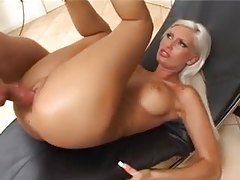 Platinum blonde Euro girl fucked in her tight cunt tubes