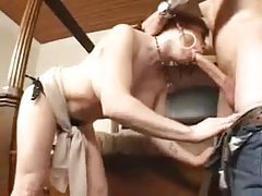 Milf with big tits fondled and sucking cock tubes