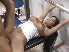 Fit guy fucks the busty Latina in the gym tubes