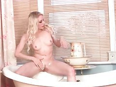 Lingerie striptease and hot water in the bathtub tubes