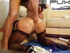 Her gaping asshole gets fisted deep tubes