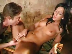 Slim military girl fucked in her tasty shaved cunt tubes