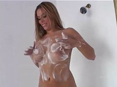 Curvy and hot in the shower as she plays tubes