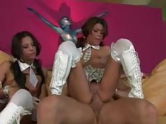 Two schoolgirl sluts in leather boots threesome tubes