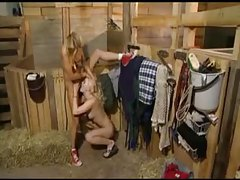 Chicks in the barn eating wet pussy tubes
