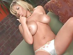 Satin bra and panties girl skillfully teases her big tits tubes