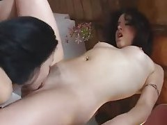 Lusty leather girl eating hot pussy tubes