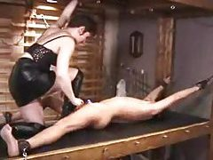 Electro shock pain for a bound guy tubes