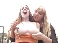 Femdom outdoors with strapon lesbian sex tubes