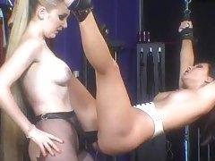 Lesbian femdom play with bondage and pain tubes