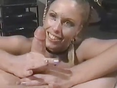 Braided hair babe gives a big cock handjob tubes