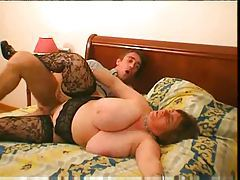 Fatty in lace stockings fucked in hairy pussy tubes