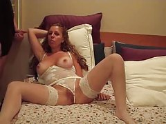 Milf lets him jack off on her face tube