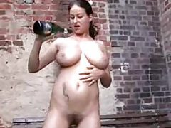 Bottle fucking and champagne in her pussy tubes