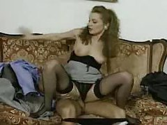 Retro sex with a girl in a fur coat tubes