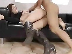Stunner in a turtleneck has hardcore sex in boots tubes