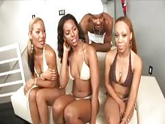 Three black bikini girls suck black dick tubes