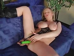 Cute big tits girl happily fingers and fucks tubes