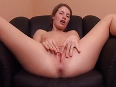Teenager puts four wet fingers into her pussy tubes