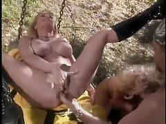 Busty blondes pounded outdoors by fireman tubes