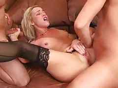 Sexy black stockings girl rammed in the ass tubes