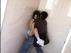 Asian teen in dress fucked in public bathroom tubes