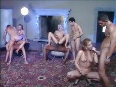Big cocks fuck glamorous girls in group scene tubes