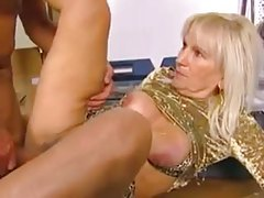 Blonde mature in short skirt hammered tubes