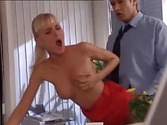 Office blonde in tight red dress fucked tube