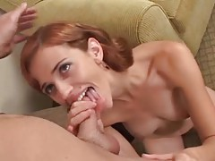 Redhead amateur gets on her knees to suck dick tubes