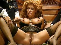 Hairy Euro milf fucked by two men in uniform tubes