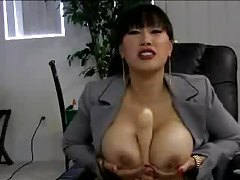 Asian office babe with big tits plays solo tube
