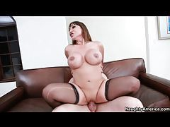 Sexy slut Ava Devine fucked in stockings tubes