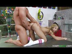 Skinny girl in striped socks fucked in her tight pussy tubes