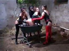 Lesbian latex foursome in the farm house tubes
