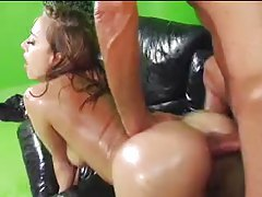 Fully oiled up slut ass fucked on a leather couch tubes